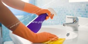 عکس با کیفیت تبلیغاتی تمیز کردن دست شور با مواد سفید کننده