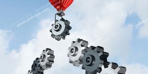 عکس با کیفیت تبلیغات پرواز چرخ دنده همراه با بالن