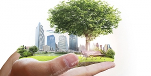 عکس با کیفیت تبلیغاتی یک تکه از زمین در دستان مرد با پس زمینه سفید