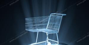 عکس با کیفیت تبلیغاتی سبد خرید فروشگاهی کوچک که روی صفح موبایل روشن قرار گرفته است