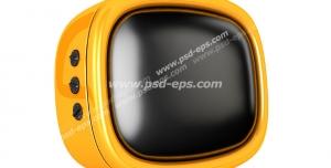 عکس با کیفیت تبلیغاتی سه بعدی تلویزیون لامپی زرد قدیمی