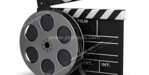 عکس با کیفیت تبلیغات رول فیلم در کنار کلاکت فیلم برداری
