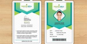 طرح آماده لایه باز کارت شناسایی سفید سبز با قاب لوزی کوچک جهت قرار گیری عکس فرد شرکت کننده