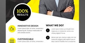 طرح آماده لایه باز تراکت یا پوستر ویژه شرکت های تجاری بازرگانی مشاوره کسب و کار با تم رنگی زرد مشکی