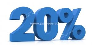 عکس با کیفیت تبلیغاتی سه بعدی بیست درصد آبی رنگ