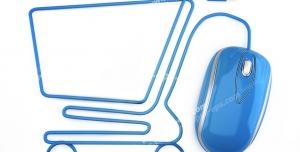 عکس با کیفیت تبلیغاتی موس کامپیوتر که سیم آن به صورت سبد خرید چرخدار فروشگاهی در آمده است