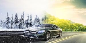 عکس با کیفیت تبلیغاتی خودرو لوکس در جاده و گذر از فصل تابستان به بهار