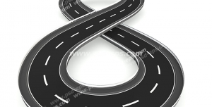 عکس با کیفیت تبلیغات جاده به شکل علامت بی نهایت