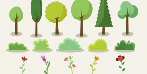 عناصر درخت، بوته و چمن به سبک فلت