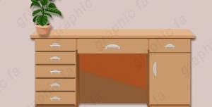شیپ لایه باز میز اداری و کمد لایه باز طراحی شده با فتوشاپ