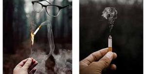 2 عدد عکس مفهومی از خطر سیگار