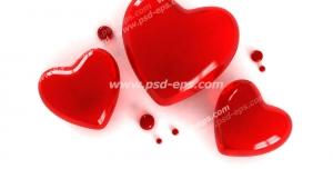 عکس با کیفیت تبلیغاتی سه قلب قرمز کوچک