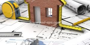 عکس با کیفیت تبلیغاتی طرح خاته چوبی کلید متر روی نقشه معماری خانه