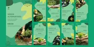 طرح آماده لایه باز بنر استوری اینستاگرام در 9 طرح مختلف با تصاویر با کیفیت با موضوع گل فروشی و گلسرا و فروشگاه گل