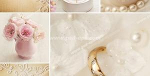 عکس با کیفیت تبلیغاتی دو حلقه زیبا و مروارید و شمع و گلدان و کارت عروسی