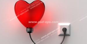 عکس با کیفیت تبلیغاتی چراغ خواب قرمز به شکل قلب