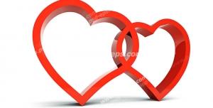 عکس با کیفیت تبلیغاتی دو قلب قرمز گره خورده در هم