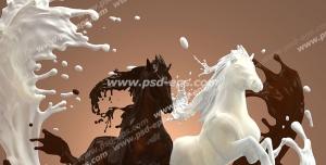 عکس با کیفیت تبلیغاتی اسب از جنس شیر و شیر کاکائو