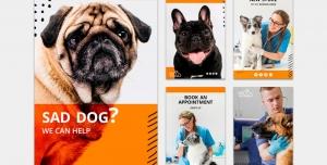 طرح آماده لایه باز بنر استوری اینستاگرام در 5 طرح مختلف با تصاویر با کیفیت با موضوع کلینیک حیوانات خانگی
