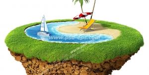 عکس با کیفیت تبلیغاتی ساحل بر روی تکه ای از زمین