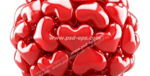 عکس با کیفیت تبلیغاتی قلب های کوچک در کنارهم به شکل توپ