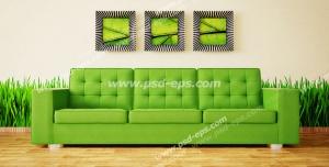 عکس با کیفیت تبلیغاتی مبل سبز سه نفره با پس زمینه دیوار با کاغذ دیواری چمنزار