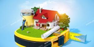 عکس با کیفیت تبلیغاتی خانه و نقشه و سطل رنگ و غلطک به روی یک سانتیمتر بزرگ