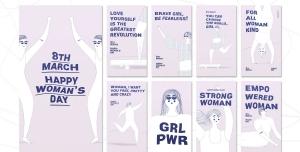 طرح آماده لایه باز بنر استوری اینستاگرام در 9 طرح مختلف با تصاویر با کیفیت با موضوع روز جهانی زن
