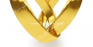 عکس با کیفیت تبلیغاتی دو حلقه طلایی درون هم که به شکل قلب در آمده است