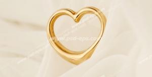 عکس با کیفیت تبلیغاتی قلب طلایی بر روی تور سفید