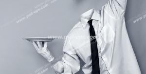 عکس با کیفیت تبلیغاتی مجسمه مرد گارسون