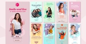 طرح آماده لایه باز بنر استوری اینستاگرام در 9 طرح مختلف با تصاویر با کیفیت با موضوع هشت مارس روز جهانی زن