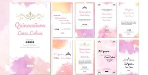 طرح آماده لایه باز بنر استوری اینستاگرام در 9 طرح مختلف با تصاویر با کیفیت با موضوع جشن تولد