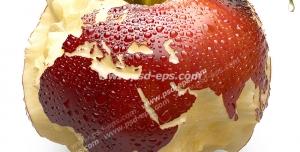 عکس با کیفیت تبلیغاتی سیب گاز زده به شکل کره زمین