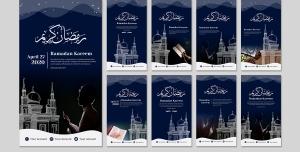 طرح آماده لایه باز بنر استوری اینستاگرام در 9 طرح مختلف با تصاویر با کیفیت با موضوع ماه رمضان