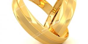 عکس با کیفیت تبلیغاتی دو رینگ طلا زنانه و مردانه درون هم که به شکل قلب در آمده است