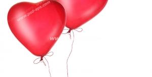 عکس با کیفیت تبلیغاتی دو بادکنک قلبی قرمز