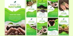 طرح آماده لایه باز بنر استوری اینستاگرام در 9 طرح مختلف با تصاویر با کیفیت با موضوع کافی باغبانی و باغداری