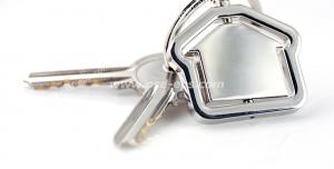 عکس با کیفیت تبلیغاتی دو کلید با جاکلیدی به شکل خانه به رنگ نقره ای