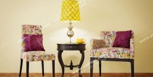 عکس با کیفیت تبلیغاتی دو صندلی گل دار زیبا با میز و آباژور