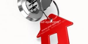 عکس با کیفیت تبلیغاتی کلید داخل قفل با جا کلیدی به شکل خانه به رنگ قرمز