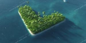 عکس با کیفیت تبلیغاتی جزیره ی کوچک به شکل قلب