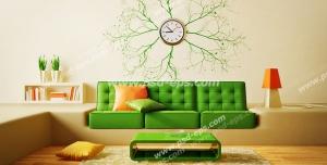 عکس با کیفیت تبلیغاتی مبلمان سبز و کرم و میز و آباژور و ساعت