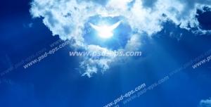 عکس با کیفیت تبلیغاتی پرنده نورانی در دل آسمان