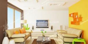 عکس با کیفیت تبلیغاتی خانه لوکس با طراحی داخلی زیبا و ترکیب رنگ زرد و کرم و سفید