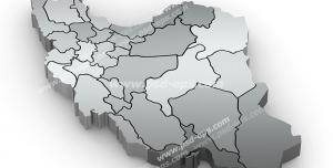عکس با کیفیت تبلیغاتی نقشه ایران با تونالیته های خاکستری