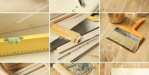 عکس با کیفیت تبلیغاتی متشکل از نه تصویر مربعی از ابزار و ملزومات نجاری