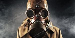 عکس با کیفیت تبلیغاتی مرد با ماسک ضد شیمیایی