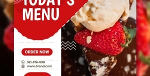 طرح تبلیغاتی جذاب بستنی فروشی با قابلیت ویرایش به موضوع دلخواه