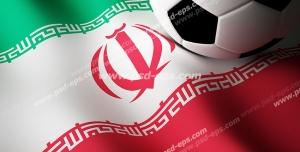 عکس با کیفیت تبلیغاتی توپ بر روی پرچم ایران
